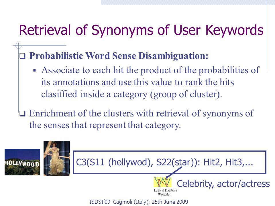 C3(S11 (hollywod), S22(star)): Hit2, Hit3,... ISDSI'09 Cagmoli (Italy), 25th June 2009 Retrieval of Synonyms of User Keywords  Probabilistic Word Sen
