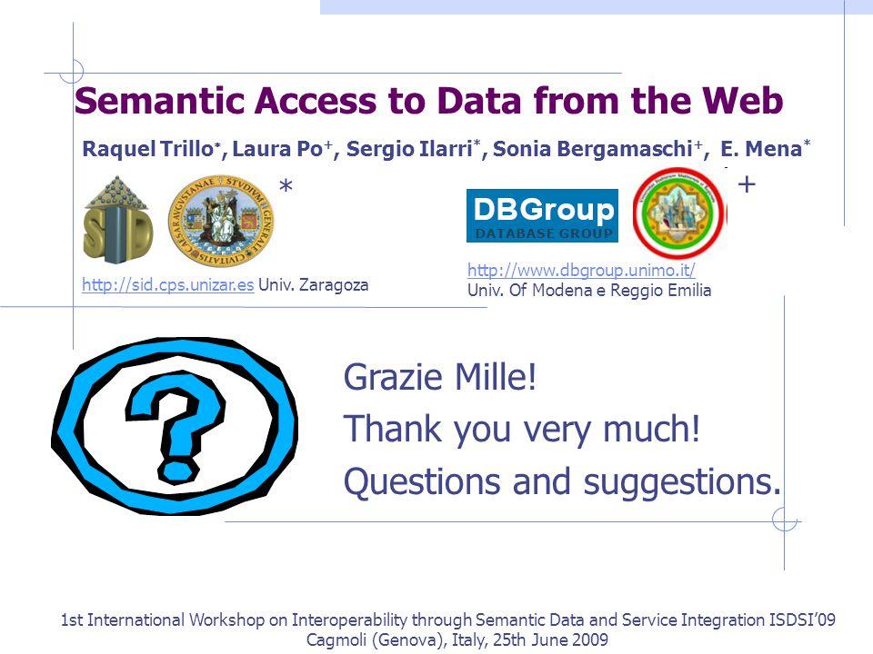 Semantic Access to Data from the Web Raquel Trillo , Laura Po +, Sergio Ilarri *, Sonia Bergamaschi +, E.