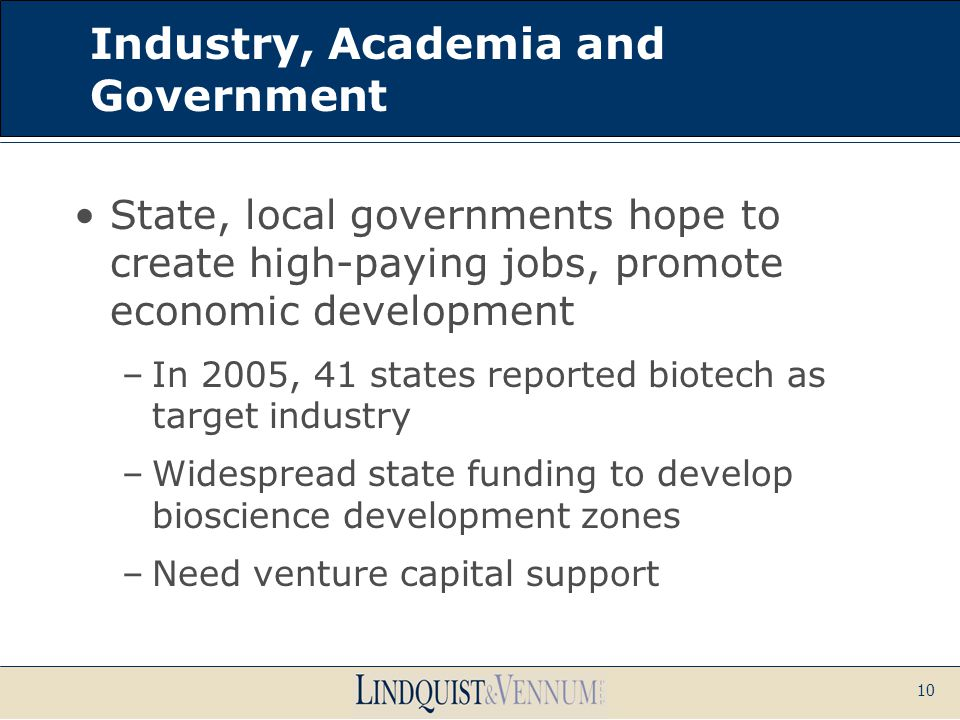 10 Industry, Academia and Government State, local governments hope to create high-paying jobs, promote economic development –In 2005, 41 states report