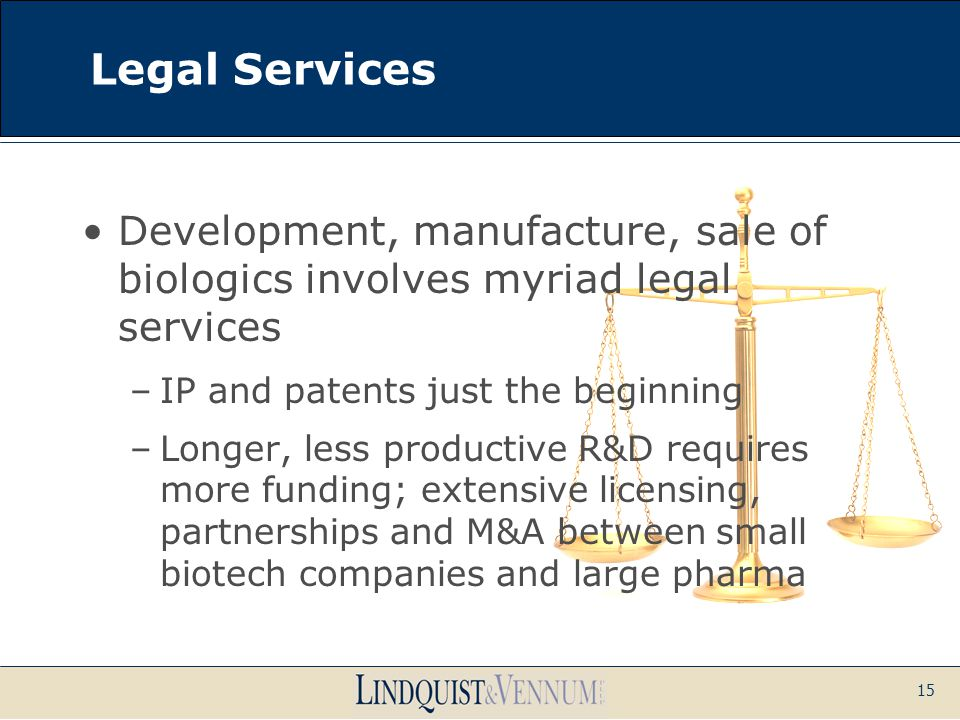 15 Legal Services Development, manufacture, sale of biologics involves myriad legal services –IP and patents just the beginning –Longer, less producti