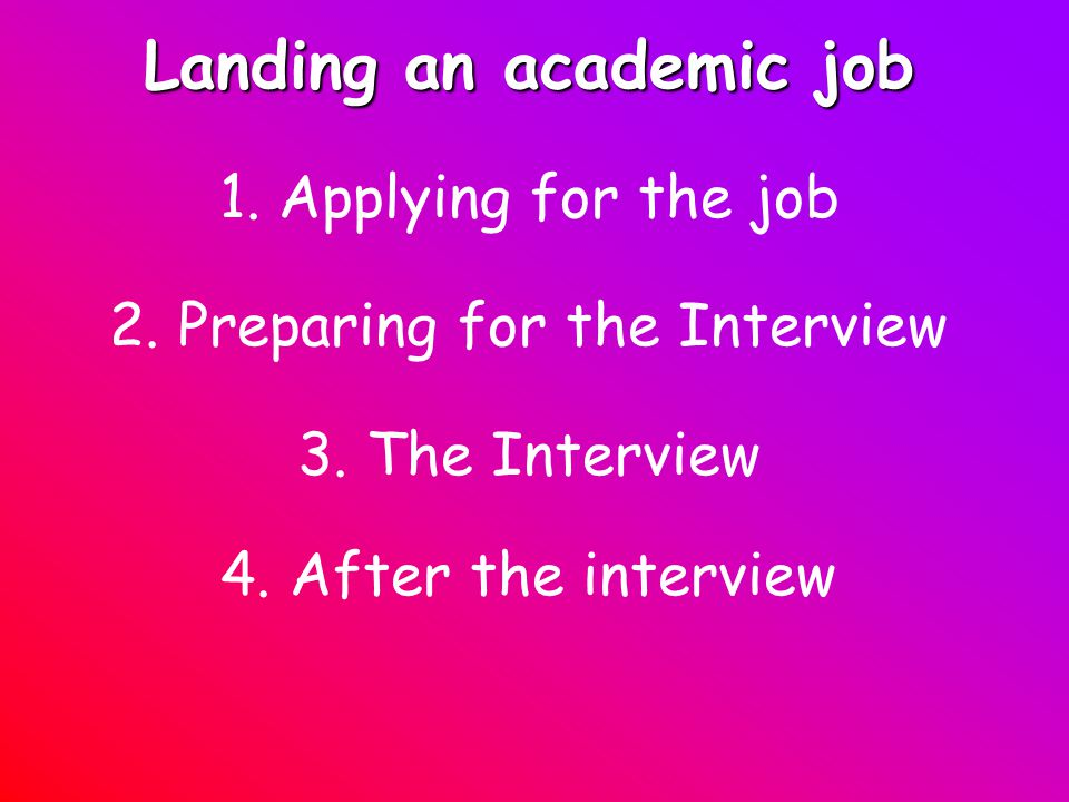 Landing an academic job 1. Applying for the job 2.