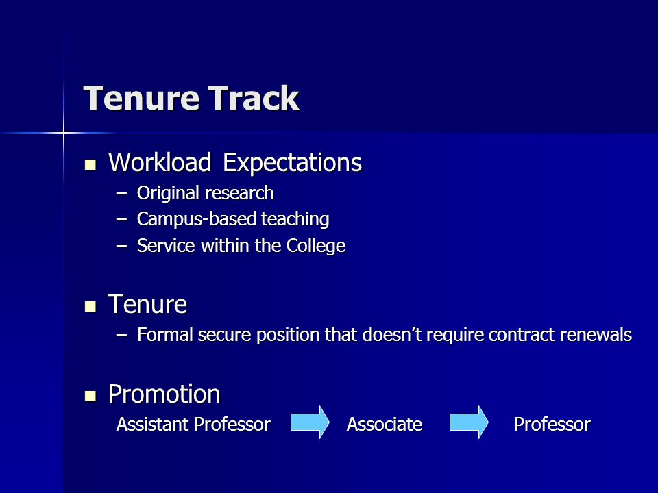 Tenure Track Workload Expectations Workload Expectations –Original research –Campus-based teaching –Service within the College Tenure Tenure –Formal secure position that doesn't require contract renewals Promotion Promotion Assistant Professor Associate Professor