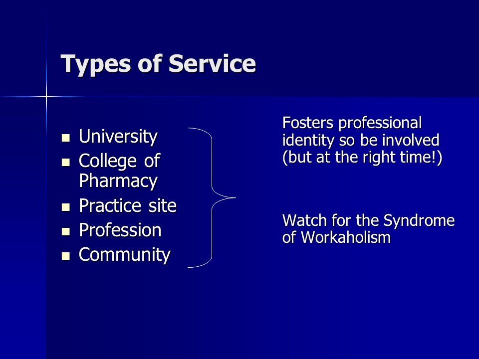 Types of Service University University College of Pharmacy College of Pharmacy Practice site Practice site Profession Profession Community Community Fosters professional identity so be involved (but at the right time!) Watch for the Syndrome of Workaholism