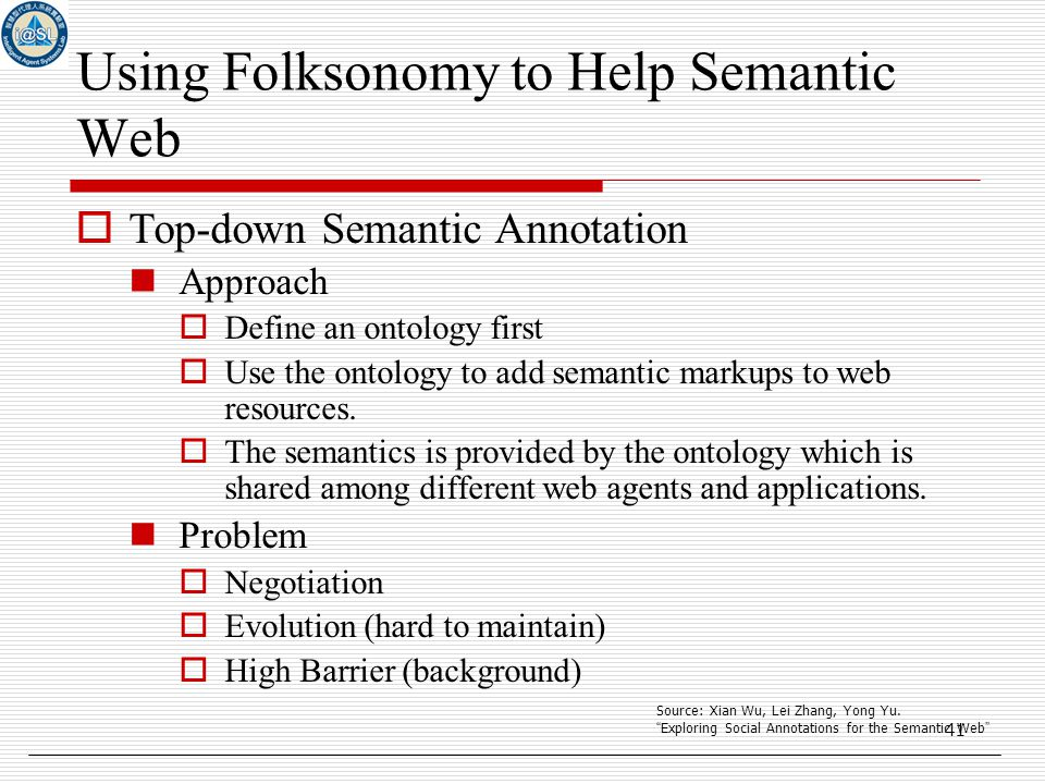 41 Using Folksonomy to Help Semantic Web  Top-down Semantic Annotation Approach  Define an ontology first  Use the ontology to add semantic markups to web resources.