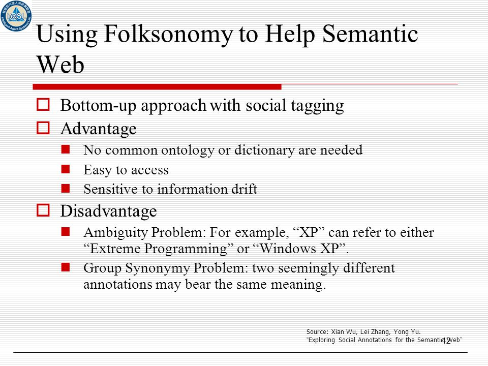 42 Using Folksonomy to Help Semantic Web  Bottom-up approach with social tagging  Advantage No common ontology or dictionary are needed Easy to access Sensitive to information drift  Disadvantage Ambiguity Problem: For example, XP can refer to either Extreme Programming or Windows XP .
