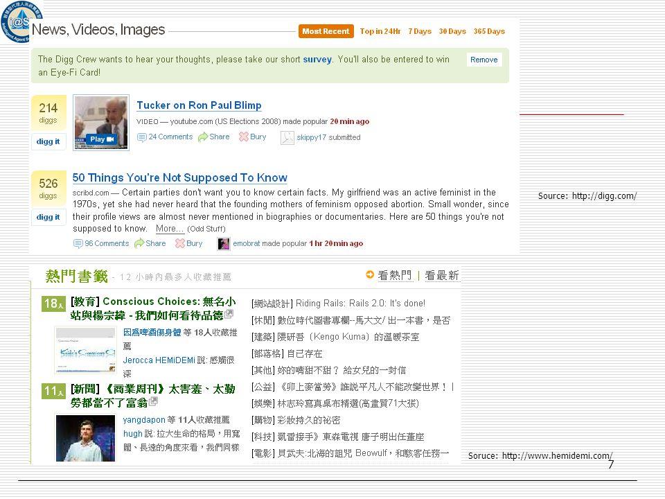 7 Soruce: http://www.hemidemi.com/ Source: http://digg.com/