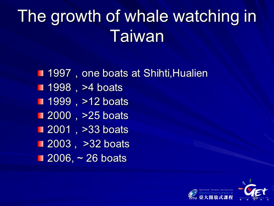 55 The growth of whale watching in Taiwan 1997 , one boats at Shihti,Hualien 1998 , >4 boats 1999 , >12 boats 2000 , >25 boats 2001 , >33 boats 2003, >32 boats 2006, ~ 26 boats