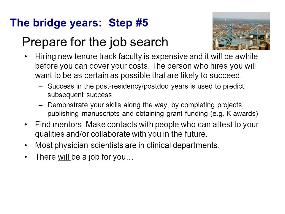The bridge years: Step #5 Prepare for the job search Hiring new tenure track faculty is expensive and it will be awhile before you can cover your costs.
