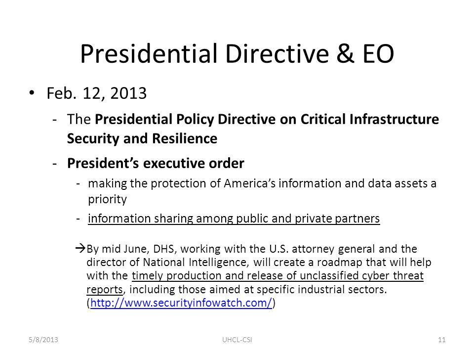 Presidential Directive & EO Feb.