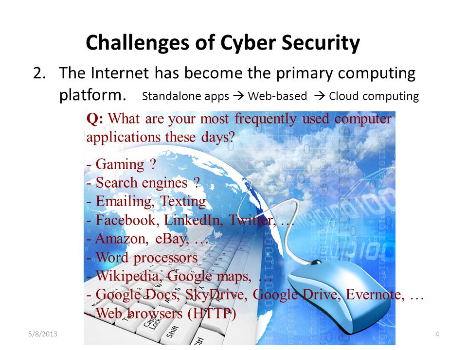 Challenges of Cyber Security 5/8/20134UHCL-CSI 2.The Internet has become the primary computing platform.
