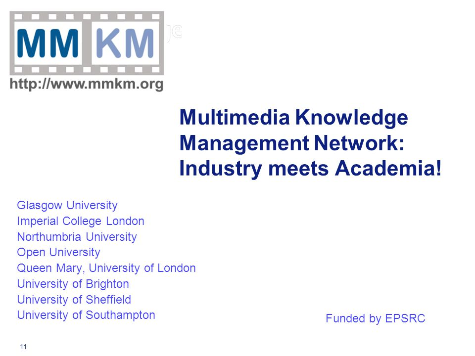 11 Multimedia Knowledge Management Network: Industry meets Academia.