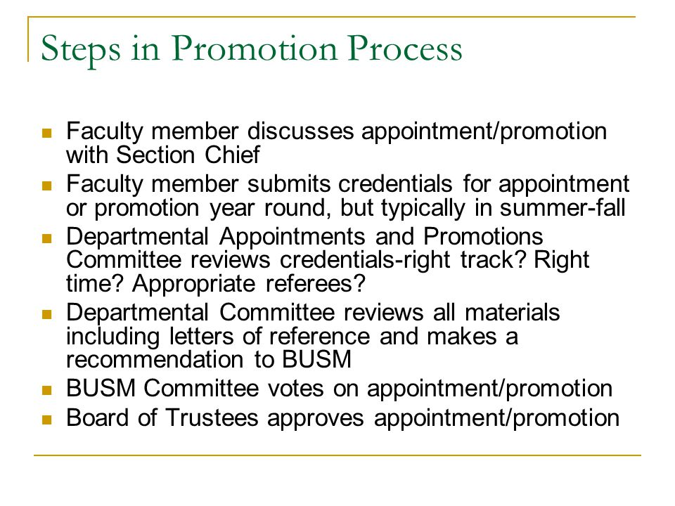 What Criteria are used in Promotion Process.
