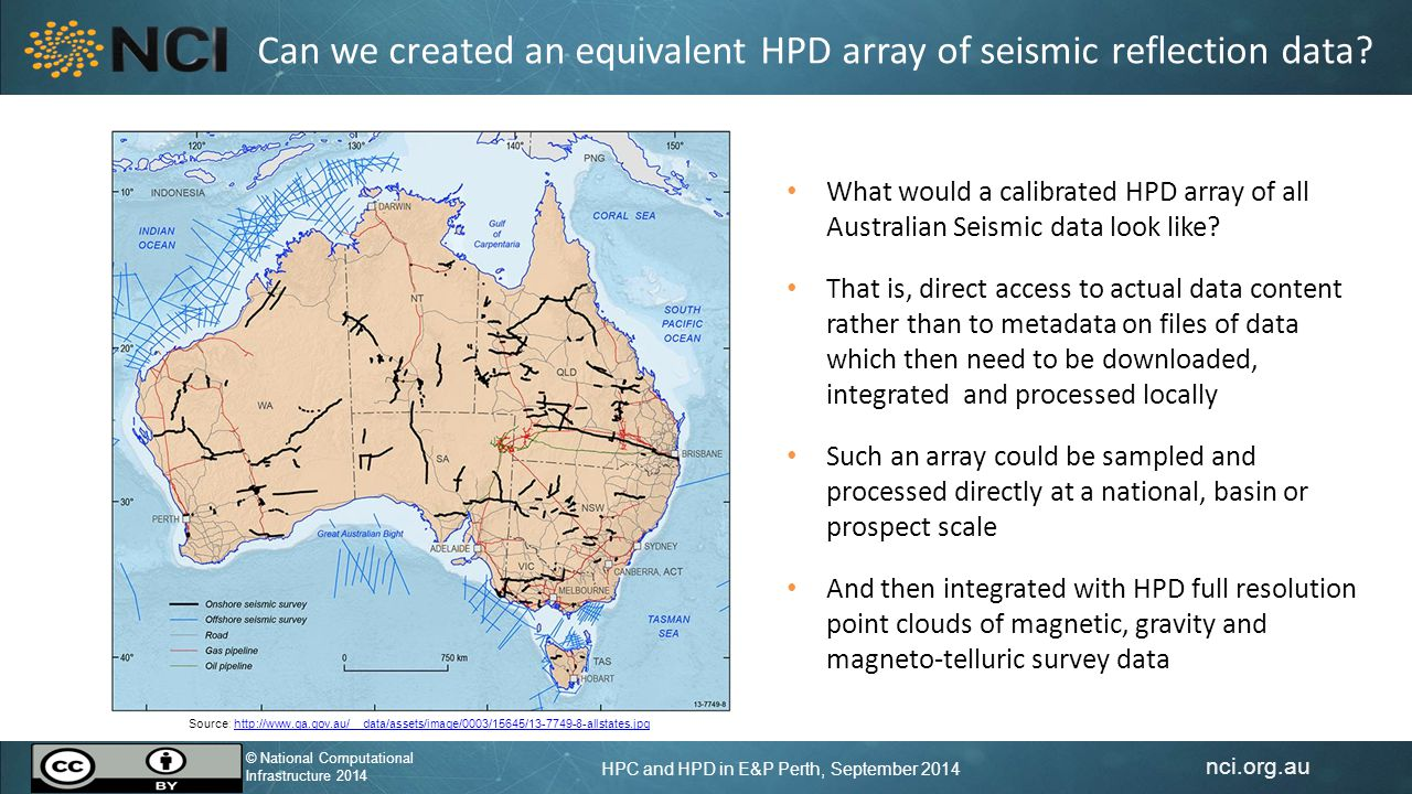 nci.org.au © National Computational Infrastructure 2014 HPC and HPD in E&P Perth, September 2014 © National Computational Infrastructure 2014 Realities of HPD Data Collections HPD collections are just too large to move – Bandwidth limits the capacity to move them: data transfers are too slow – Even if they can be moved, few can afford to store them locally: the energy costs are also substantial HPD is about moving processing to the data, moving users to the data and about having online applications to process the data HPD enables cross-domain integration Domain-neutral international standards for data collections and interoperability are critical for allowing complex interactions in HP environments both within and between HPD collections HPD enables scalable data access but also means rethinking the algorithms of the data (not again?)