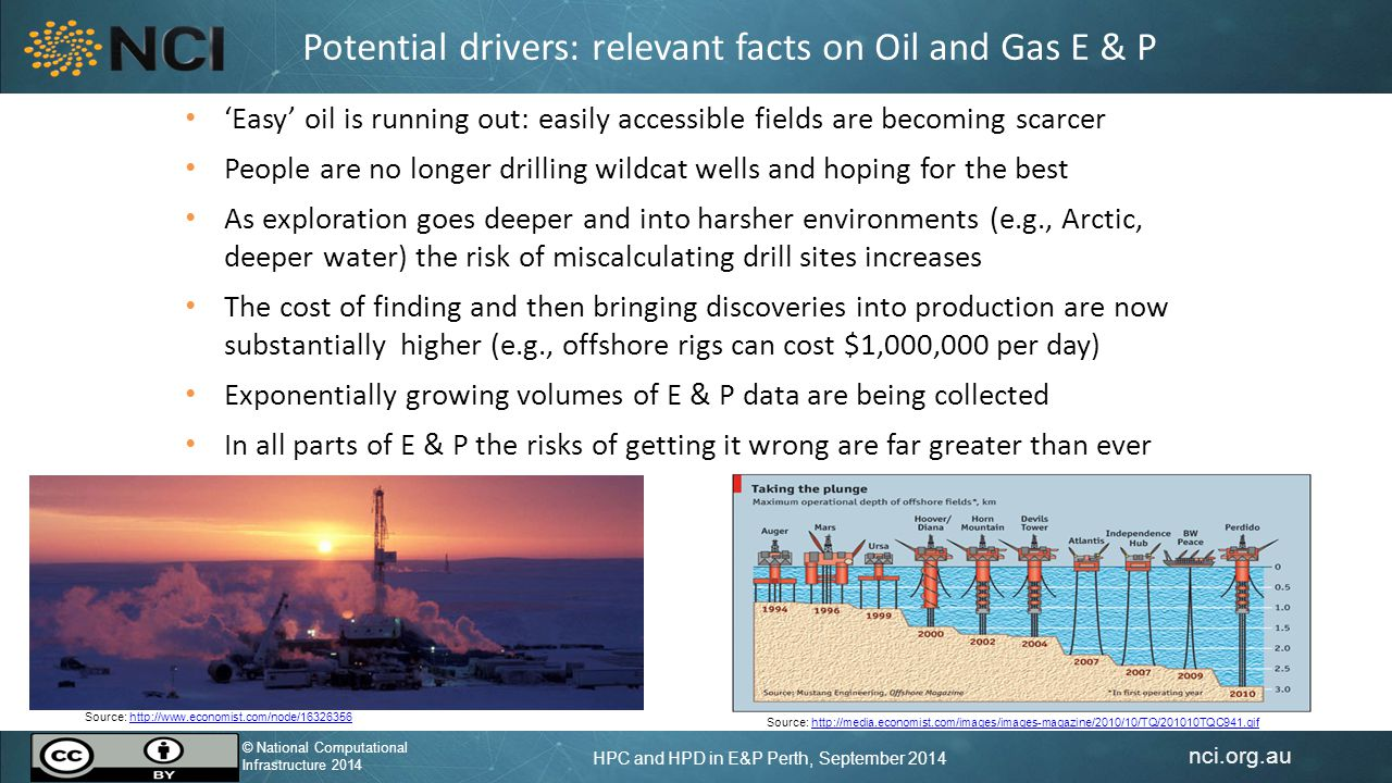 nci.org.au © National Computational Infrastructure 2014 HPC and HPD in E&P Perth, September 2014 © National Computational Infrastructure 2014 Potential drivers: relevant facts on Oil and Gas E & P 'Easy' oil is running out: easily accessible fields are becoming scarcer People are no longer drilling wildcat wells and hoping for the best As exploration goes deeper and into harsher environments (e.g., Arctic, deeper water) the risk of miscalculating drill sites increases The cost of finding and then bringing discoveries into production are now substantially higher (e.g., offshore rigs can cost $1,000,000 per day) Exponentially growing volumes of E & P data are being collected In all parts of E & P the risks of getting it wrong are far greater than ever Source: http://www.economist.com/node/16326356http://www.economist.com/node/16326356 Source: http://media.economist.com/images/images-magazine/2010/10/TQ/201010TQC941.gifhttp://media.economist.com/images/images-magazine/2010/10/TQ/201010TQC941.gif