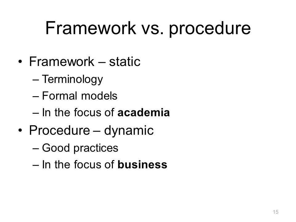 Framework vs.