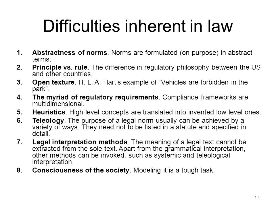 Difficulties inherent in law 1.Abstractness of norms.
