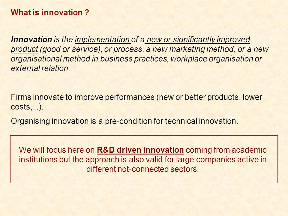 Activities of NMP Networks of Excellence Basic Innovative Knowledge: 1- Not identified or dormant 2- Publication in the best possible journal 3- Identified as potentially transferable to industry as a Transferable Innovative Knowledge NMP Networks of Expertise are used to work with industry (in 2009, EPNOE academic partners had 270 R&D projects with industry for a total budget > 26M€) But it is not changing the evaluation modes of scientists.