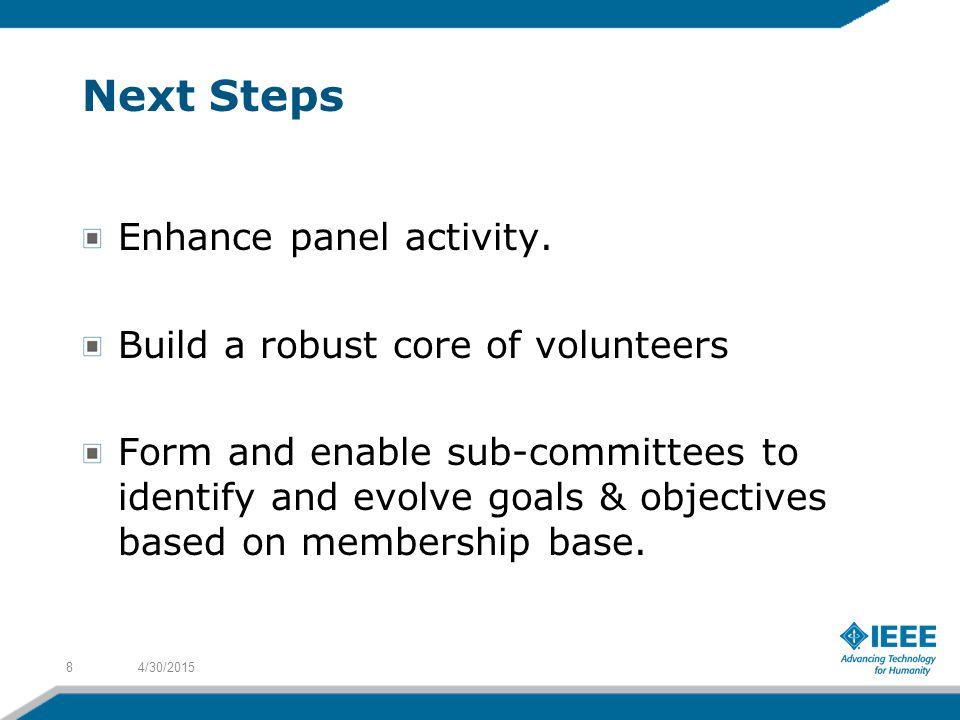 Next Steps Enhance panel activity.