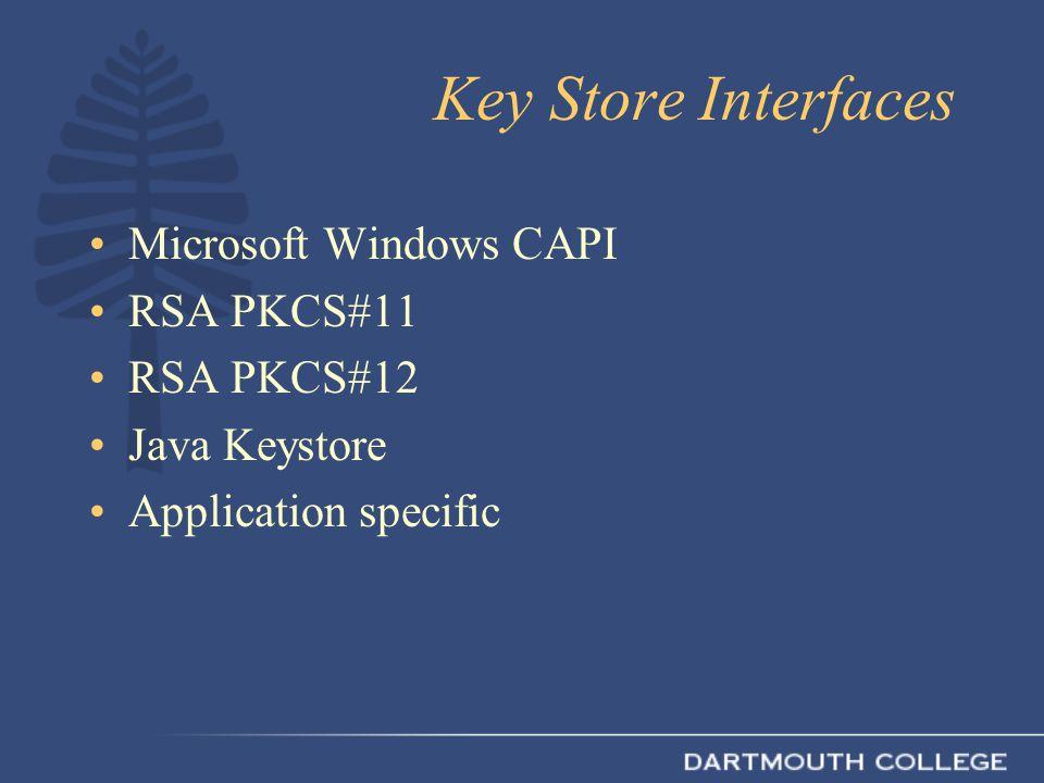 Key Store Interfaces Microsoft Windows CAPI RSA PKCS#11 RSA PKCS#12 Java Keystore Application specific