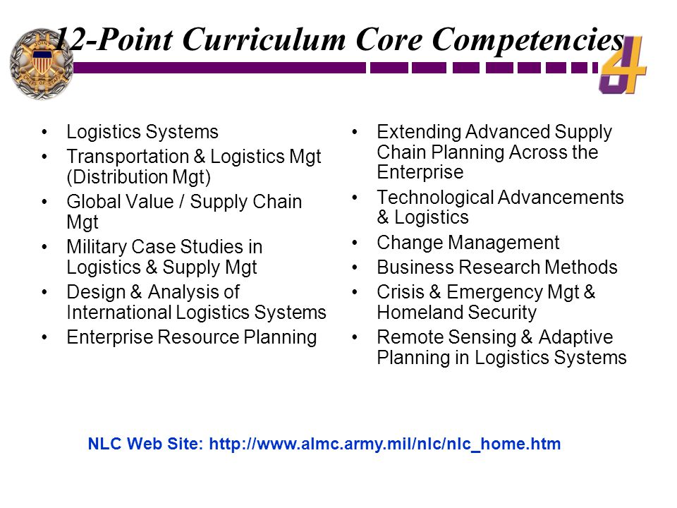 12-Point Curriculum Core Competencies Logistics Systems Transportation & Logistics Mgt (Distribution Mgt) Global Value / Supply Chain Mgt Military Case Studies in Logistics & Supply Mgt Design & Analysis of International Logistics Systems Enterprise Resource Planning Extending Advanced Supply Chain Planning Across the Enterprise Technological Advancements & Logistics Change Management Business Research Methods Crisis & Emergency Mgt & Homeland Security Remote Sensing & Adaptive Planning in Logistics Systems NLC Web Site: http://www.almc.army.mil/nlc/nlc_home.htm