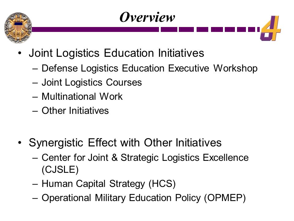Overview Joint Logistics Education Initiatives –Defense Logistics Education Executive Workshop –Joint Logistics Courses –Multinational Work –Other Initiatives Synergistic Effect with Other Initiatives –Center for Joint & Strategic Logistics Excellence (CJSLE) –Human Capital Strategy (HCS) –Operational Military Education Policy (OPMEP)