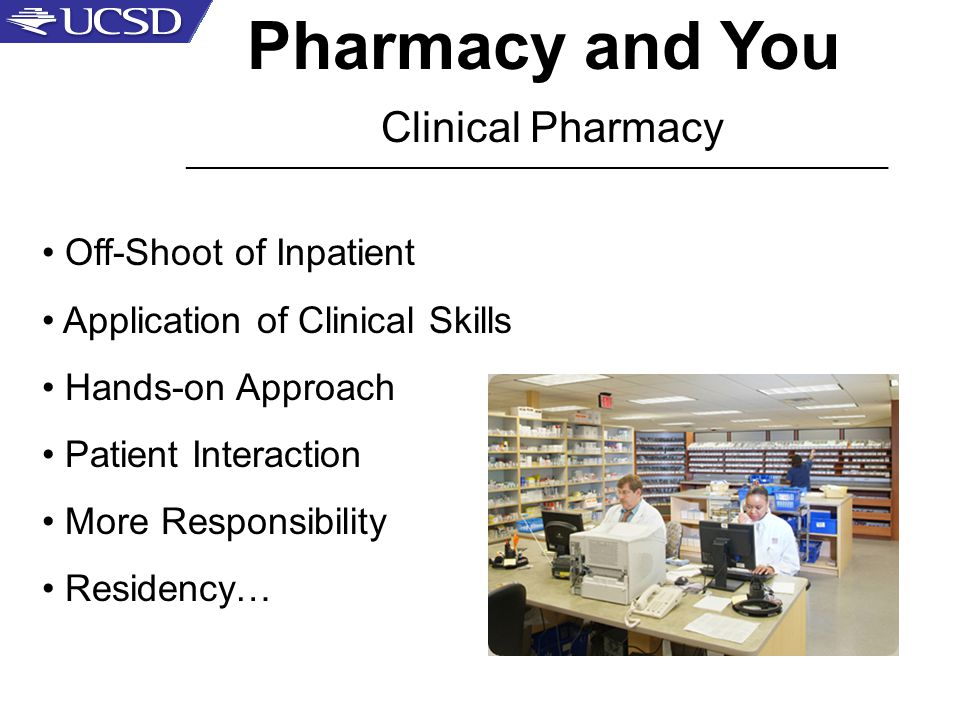 Pharmacy and You Clinical Pharmacy _____________________________________________________ Off-Shoot of Inpatient Application of Clinical Skills Hands-on Approach Patient Interaction More Responsibility Residency…