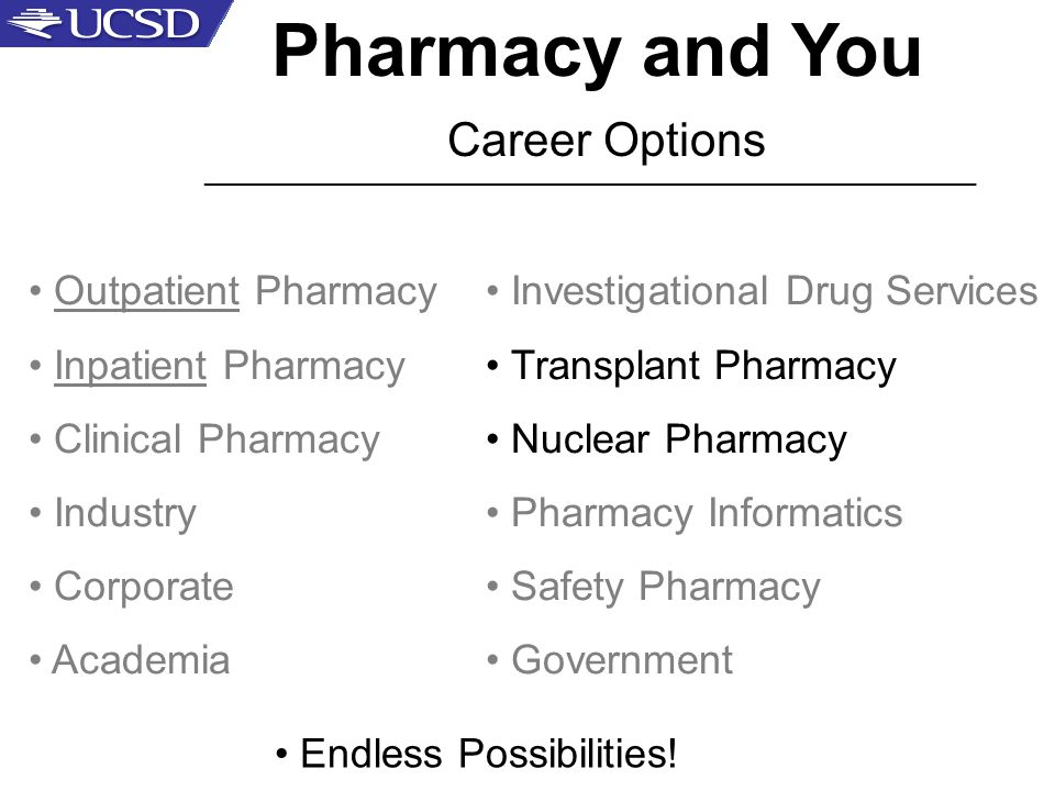 Pharmacy and You Career Options Outpatient Pharmacy Inpatient Pharmacy Clinical Pharmacy Industry Corporate Academia _____________________________________________________ Investigational Drug Services Transplant Pharmacy Nuclear Pharmacy Pharmacy Informatics Safety Pharmacy Government Endless Possibilities!
