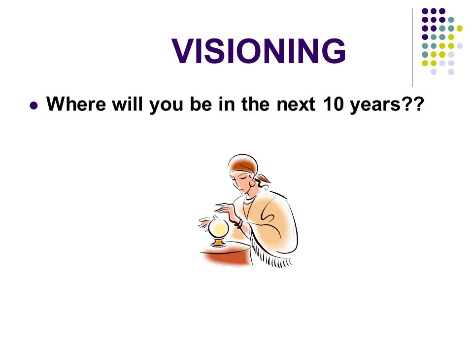 VISIONING Where will you be in the next 10 years