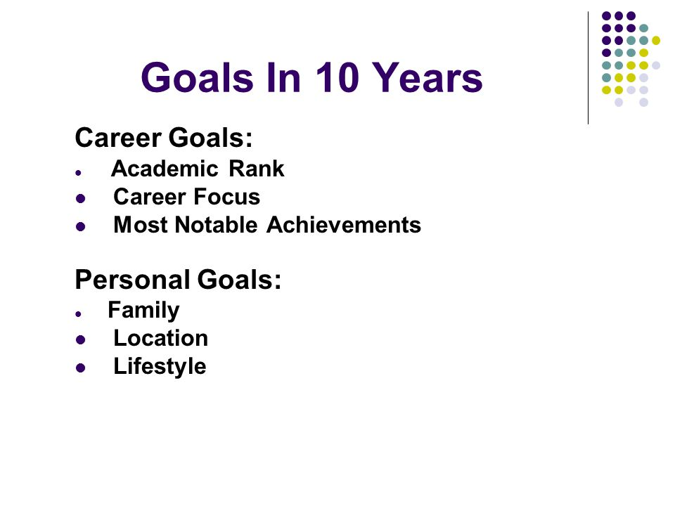 Goals In 10 Years Career Goals: Academic Rank Career Focus Most Notable Achievements Personal Goals: Family Location Lifestyle