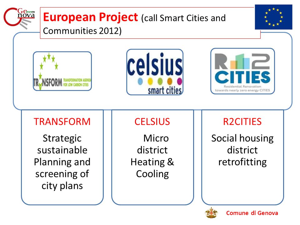 Comune di Genova TRANSFORM Strategic sustainable Planning and screening of city plans CELSIUS Micro district Heating & Cooling R2CITIES Social housing district retrofitting European Project (call Smart Cities and Communities 2012)