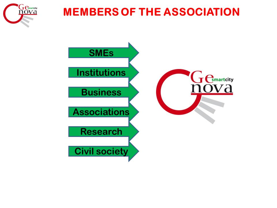 MEMBERS OF THE ASSOCIATION Civil society Research Associations Business Institutions SMEs