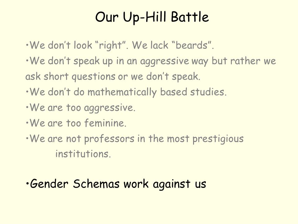 """Our Up-Hill Battle We don't look """"right"""". We lack """"beards"""". We don't speak up in an aggressive way but rather we ask short questions or we don't speak"""