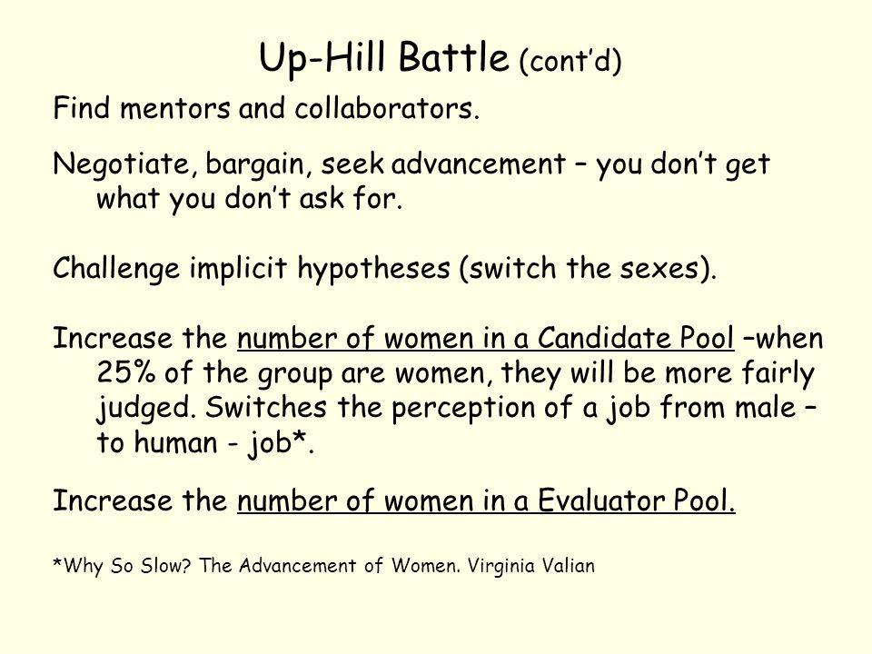 Up-Hill Battle (cont'd) Find mentors and collaborators.