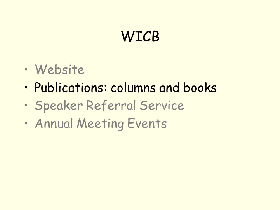 WICB Website Publications: columns and books Speaker Referral Service Annual Meeting Events