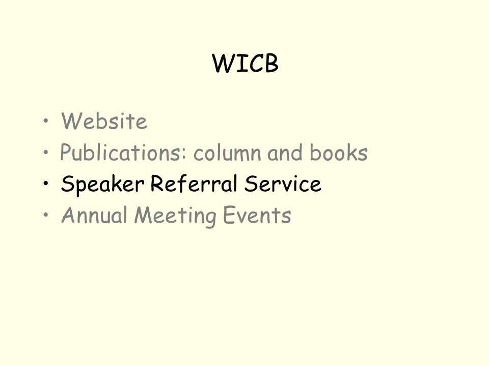 WICB Website Publications: column and books Speaker Referral Service Annual Meeting Events