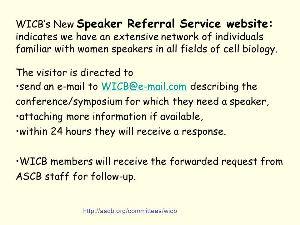 WICB's New Speaker Referral Service website: indicates we have an extensive network of individuals familiar with women speakers in all fields of cell