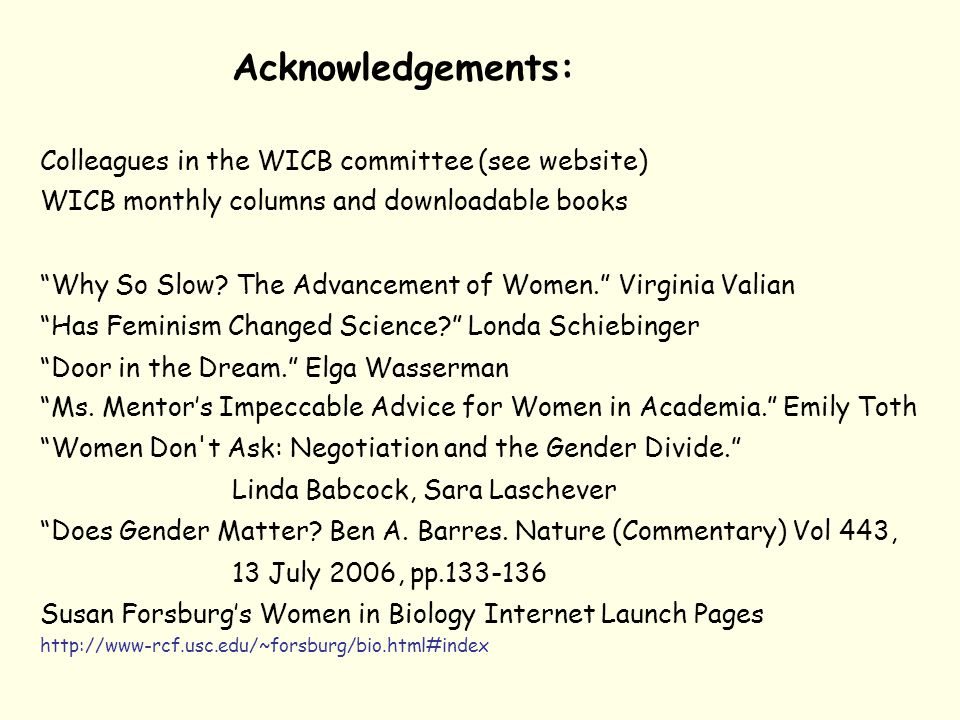 Acknowledgements: Colleagues in the WICB committee (see website) WICB monthly columns and downloadable books Why So Slow.