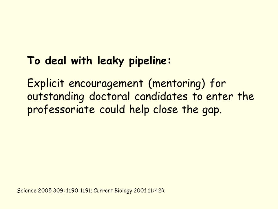 To deal with leaky pipeline: Explicit encouragement (mentoring) for outstanding doctoral candidates to enter the professoriate could help close the gap.