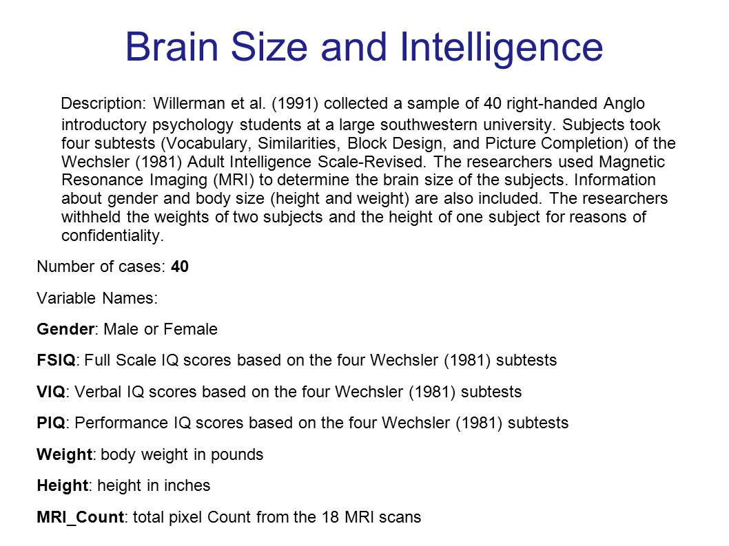 Brain Size and Intelligence Description: Willerman et al.