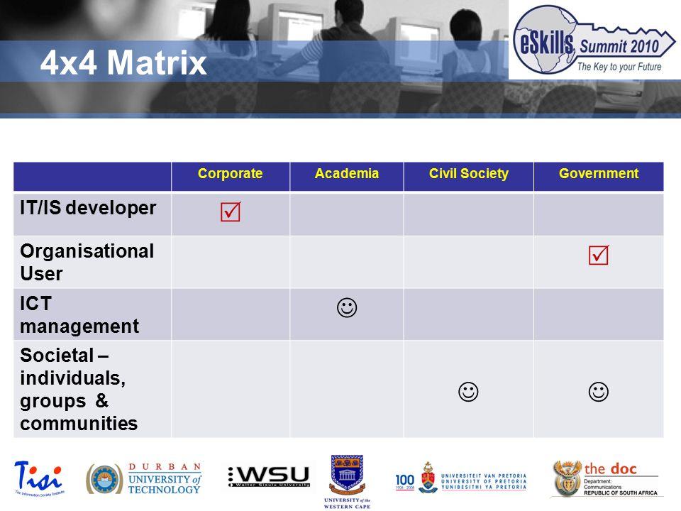 © TISI 2009 4x4 Matrix CorporateAcademiaCivil SocietyGovernment IT/IS developer  Organisational User  ICT management Societal – individuals, groups