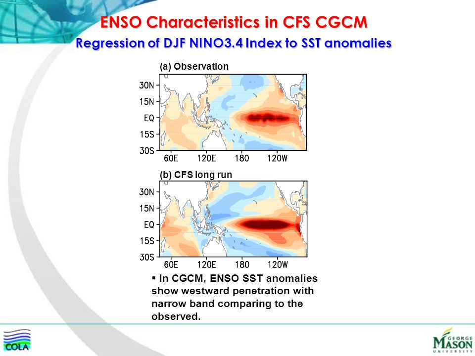 Regression of DJF NINO3.4 Index to SST anomalies (a) Observation (b) CFS long run ENSO Characteristics in CFS CGCM  In CGCM, ENSO SST anomalies show
