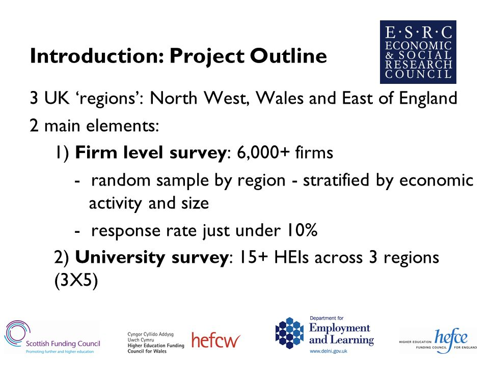 Introduction: Project Outline 3 UK 'regions': North West, Wales and East of England 2 main elements: 1) Firm level survey: 6,000+ firms - random sample by region - stratified by economic activity and size - response rate just under 10% 2) University survey: 15+ HEIs across 3 regions (3X5)