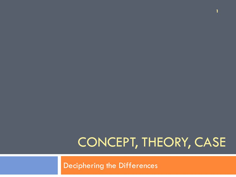 CONCEPT, THEORY, CASE Deciphering the Differences 1