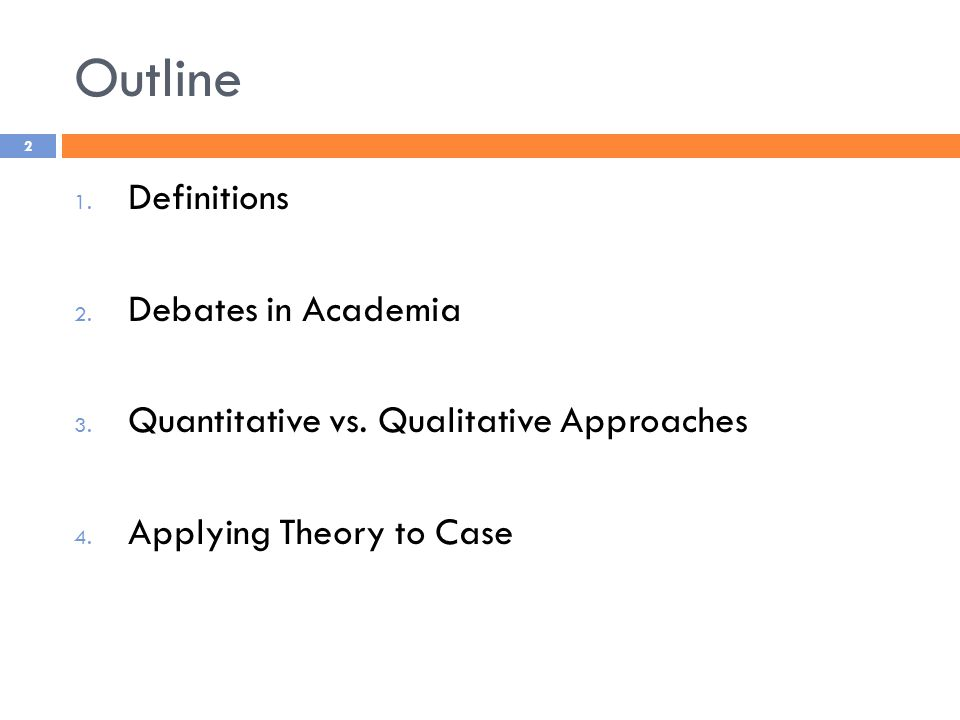 Outline 1. Definitions 2. Debates in Academia 3.