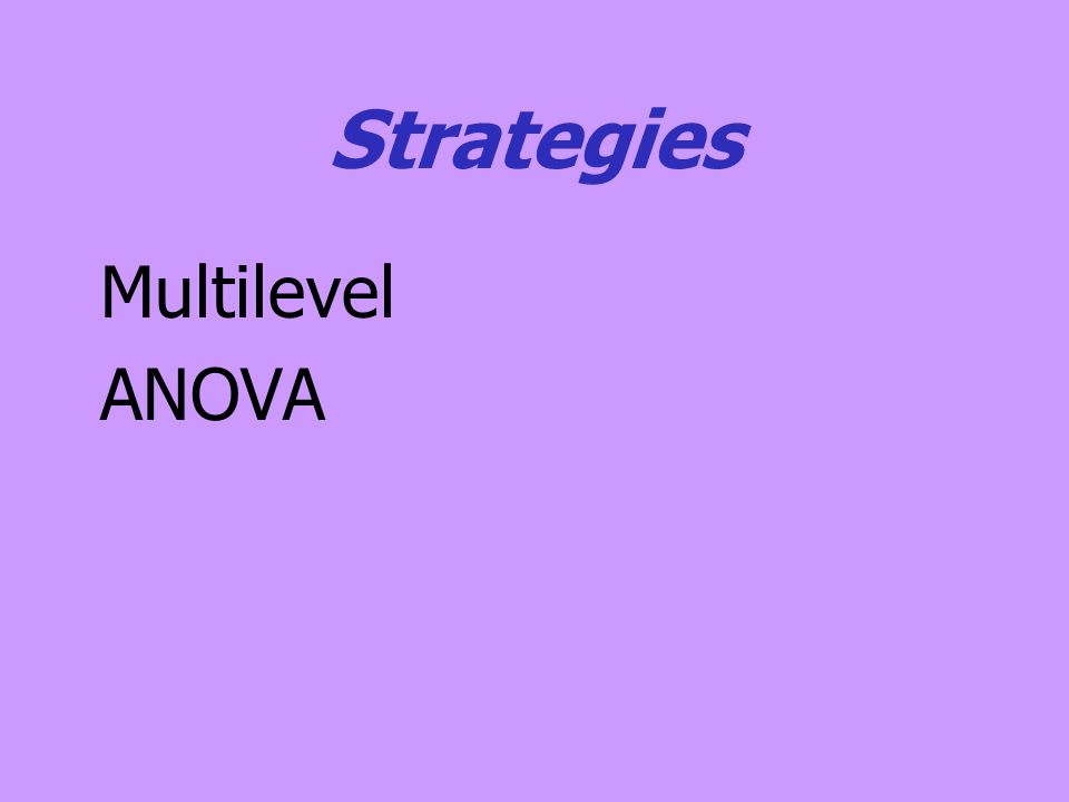 MLM Strategy Better statistically than the ANOVA approach Allows for missing data One setup for all designs Can estimate non-saturated models (e.g., model with group variances set to zero).