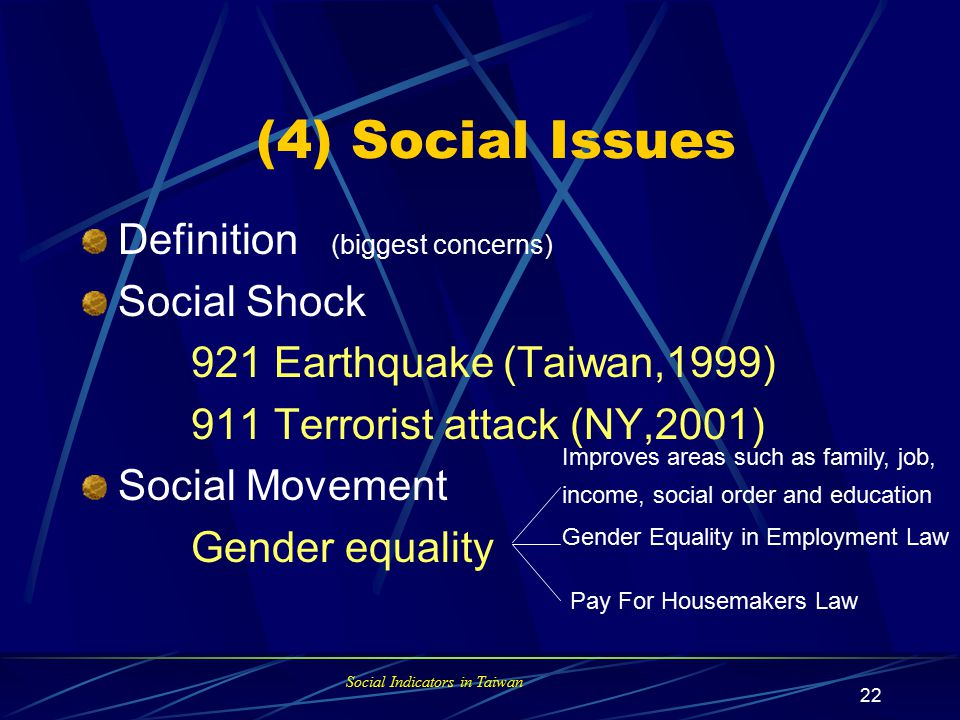 Social Indicators in Taiwan 21 OECD Social Indicators Model state-response model , SR social context-status-response model , CSR