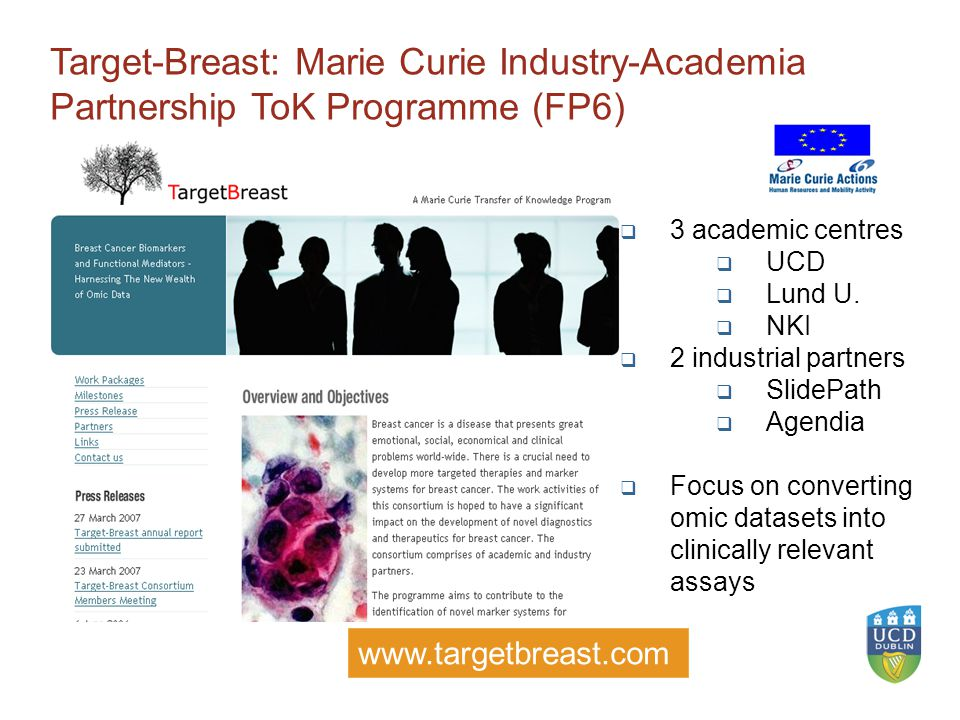 4 Target-Breast: Marie Curie Industry-Academia Partnership ToK Programme (FP6)  3 academic centres  UCD  Lund U.