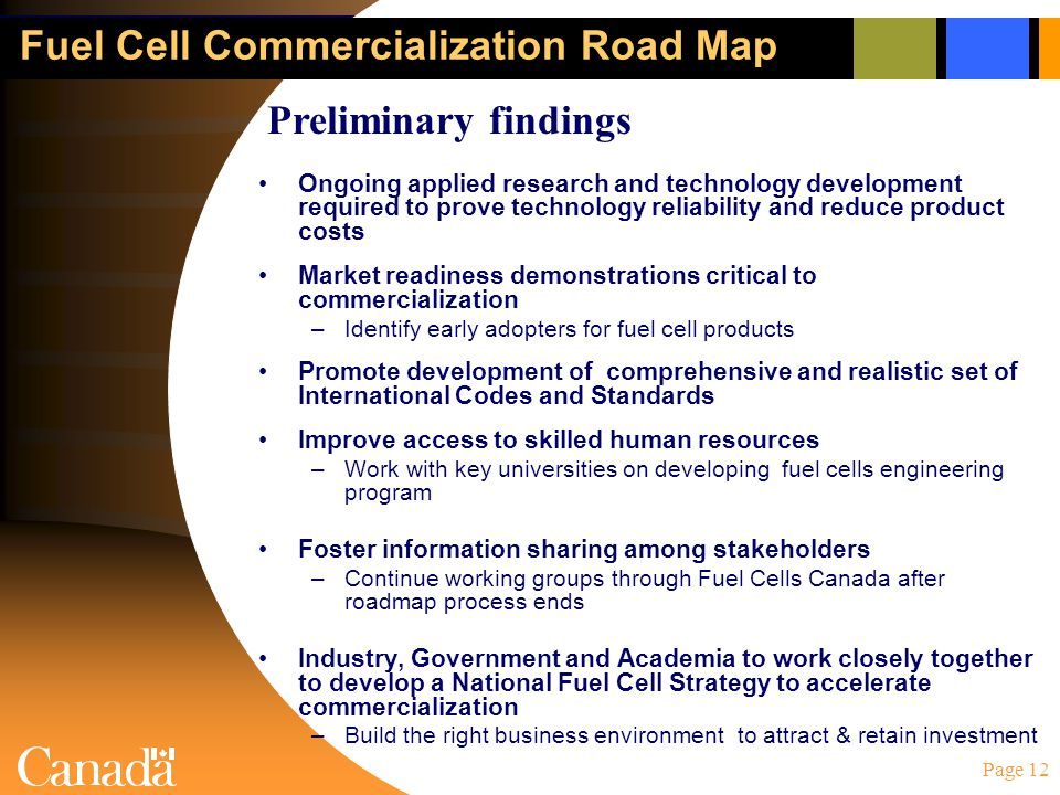 Page 12 Fuel Cell Commercialization Road Map Ongoing applied research and technology development required to prove technology reliability and reduce p
