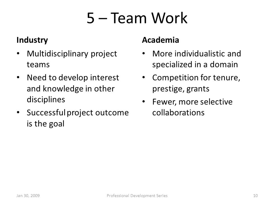 5 – Team Work Industry Multidisciplinary project teams Need to develop interest and knowledge in other disciplines Successful project outcome is the g