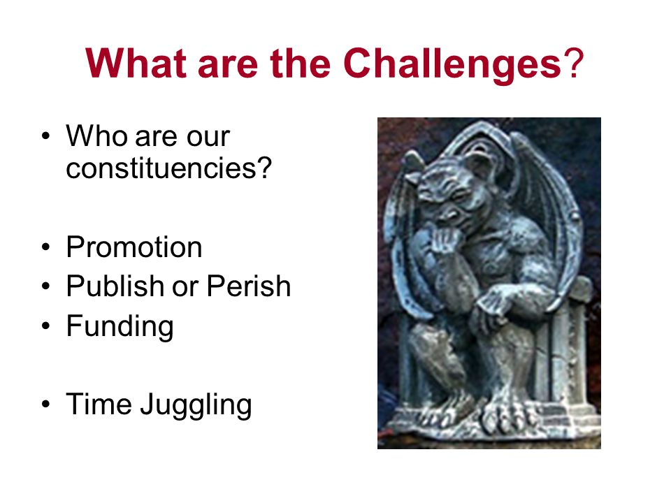What are the Challenges? Who are our constituencies? Promotion Publish or Perish Funding Time Juggling